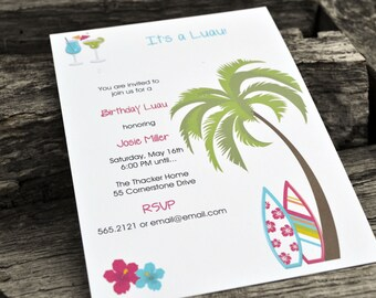 Luau Party Invitations / Birthday Party Invitation / Beach Party Invitation / Pool Party Invitation / Summer Party Invitation