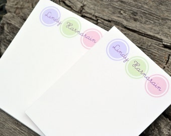 Personalized Notepads / Personalized Note Pads / Monogram Notepads / Notebook / Circle Notepads / Set of 2 Large Circles Design