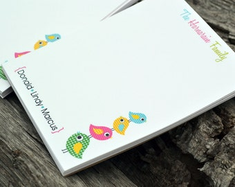 Personalized Notepads / Personalized Family Notepads / Stationery / Personalized Note Pads / Set of 2 Little Birdies Design