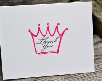 Kids Thank You Note Cards Girls Crown Stationery Set