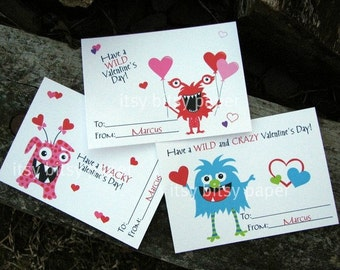 Kids Monster Valentine's Day Cards - Monster Classroom Cards - Valentines Day Cards for Kids Set of 24 and 2 Teacher Cards