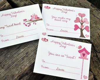 Kids Love Birds Valentine's Day Cards - Classroom Valentine's - Birds Valentine's for Kids Set of 24 and 2 Teacher Cards