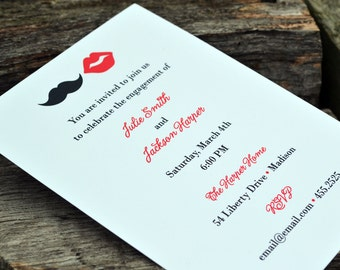 Party Invitation Personalized Red Lips and Mustache Theme