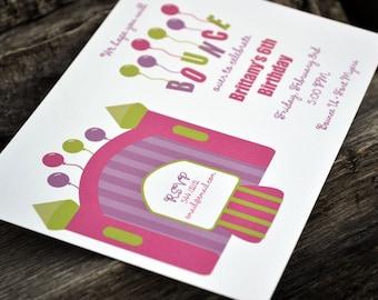 Bounce House Party Invitation / Birthday Party Invitation / Girls Bounce House Party Invitation