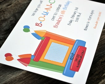 Bounce House Party Invitations / Birthday Party Invitation / Birthday Party Invite / Kids Birthday Party / Bounce House Party