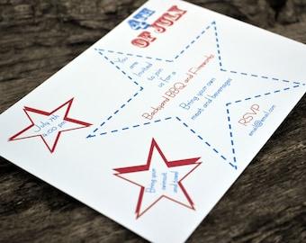 4th of July Invitations-Jumbo Stars Design