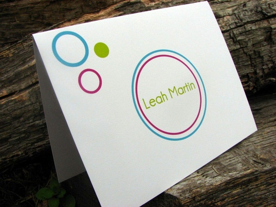 Personalized Note Cards Lots of Bubbles
