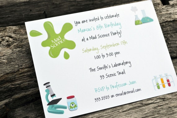 kids science birthday party invitations / by paperpaintandpine, Party invitations