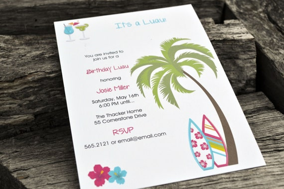 Luau Party Invitations Personalized Set of Party Invitations
