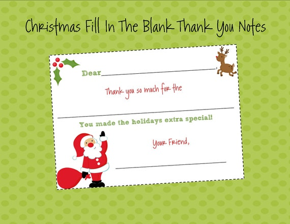 Kids fill in the blank christmas thank you notes by itsybitsypaper