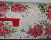 Painted MAILBOX Terra Cotta Hydrangea on Beige, UV Resistant