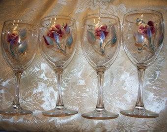 Handpainted WINE GLASS GOBLETS Set of 4 Rosebuds