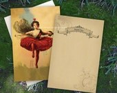 Set of 10 Vintage Circus Themed Thank You Cards - Tightrope Walker