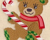 Merry Christmas Teddy Bear Embroidered Quilt Block or Hand Towel