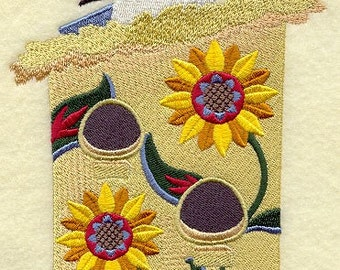 Mexican Birdhouse with Mexican Jay (1 Block) Embroidered Quilt Block