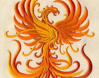 Fiery Phoenix Embroidered on WHITE Cotton Kitchen or Bath Hand Towel or Quilt Block Square