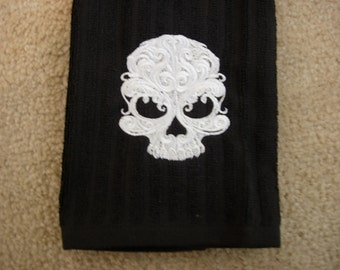 Gothic Skull embroidered on a Cotton Black Towel