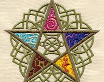 Five Elements Star (1 of 6) Embroidered Quilt Block Square or Cotton Kitchen towel