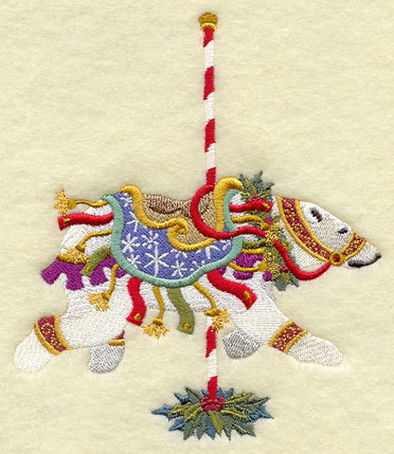 Christmas Carousel Polar Bear (1 Block) Embroidered Quilt Block, 5x7
