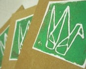 Green Paper Crane Recycled Note Card