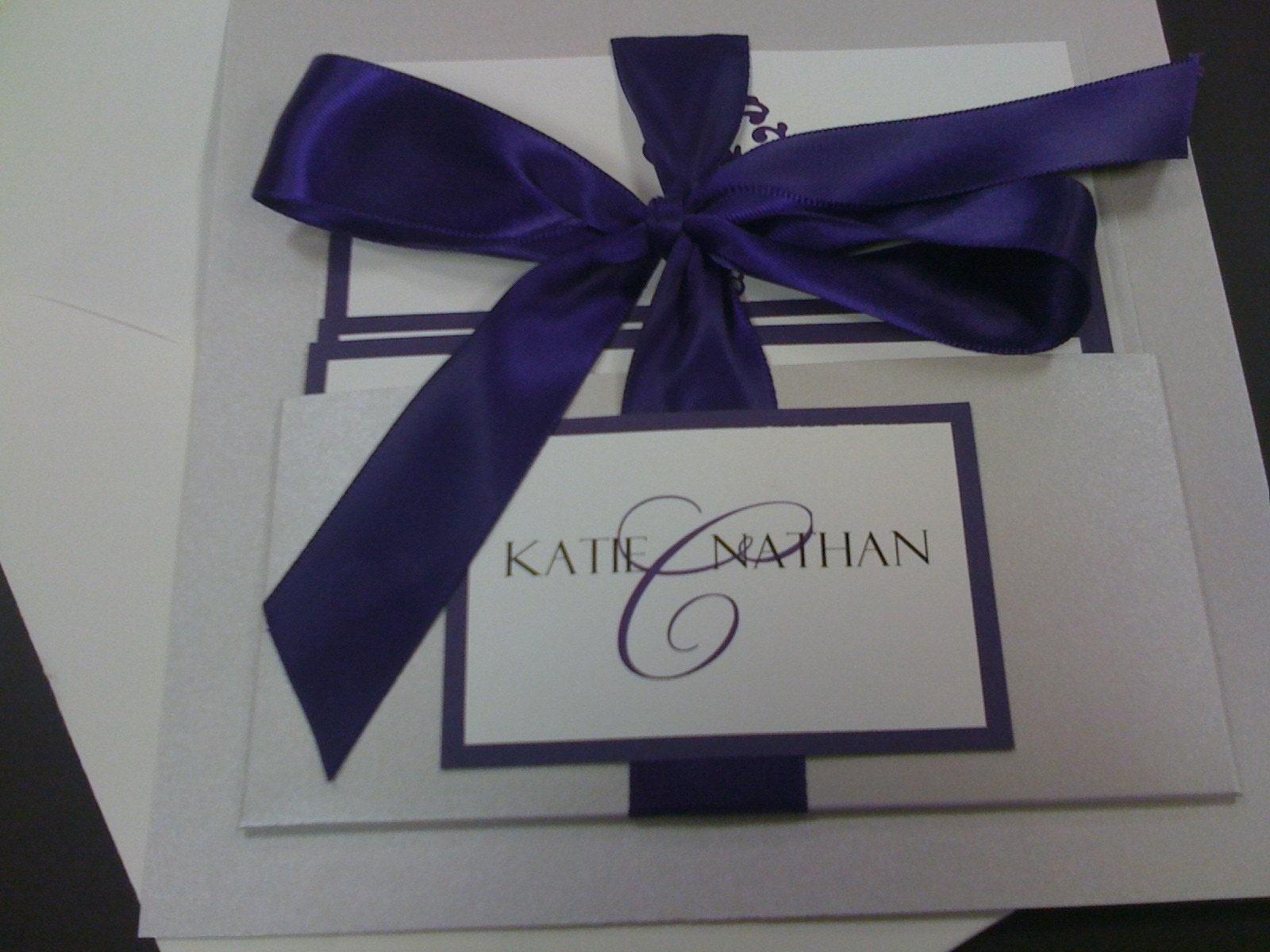 Ivory Wedding Invitation Kits: Purple Silver And Ivory Pocket Handmade Wedding Invitation