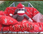 Shopping Cart Cover Sock Monkey Reversible with Minky Free Personalization LAST ONE