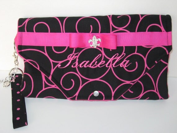 Diaper Clutch Changing Pad with Wrist Key FOB Black and Hot Pink Personalized