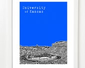 University of Kansas Jayhawks Poster - Memorial Stadium Football Art Print - Lawrence, Kansas