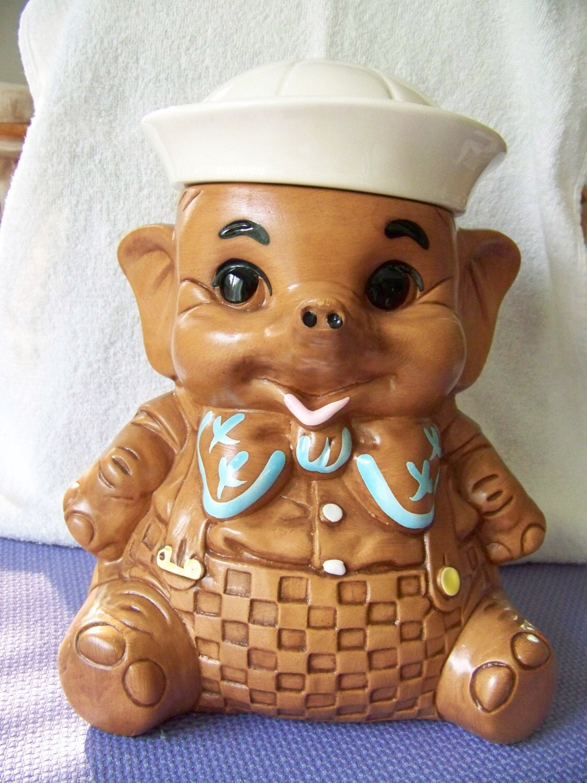Twin winton sailor elephant cookie jar excellent by caroljsdesigns - Vintage elephant cookie jar ...