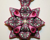 Magenta, Pink, Green, Black and White Pendant Necklace 008 FREE SHIPPING