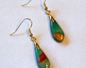 Green, Copper, Red and Gold Teardrop Earrings FREE SHIPPING