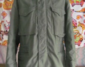 Miltary Army Field Jacket . Small or Med . Mens . Green . Hood