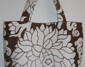 Medium tote in brown and white floral - STORE CLOSING. Everything discounted...