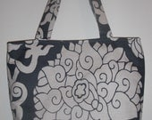 Medium tote in slate blue and off white floral -- STORE CLOSING. Everything discounted..