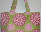TOTE - medium - pink and green floral kaleidoscope print - STORE CLOSING. Everything discounted..