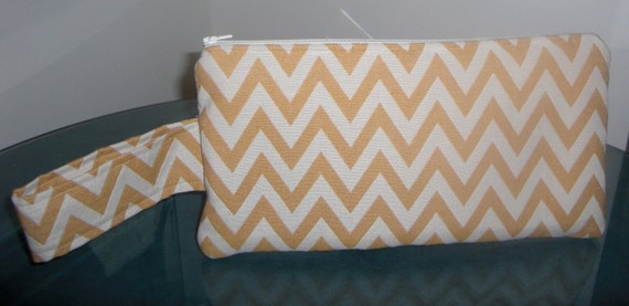 Wristlet - chevron stripe in golden yellow