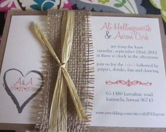 Rustic Heart/Monogram Burlap and Kraft Wedding Invitation