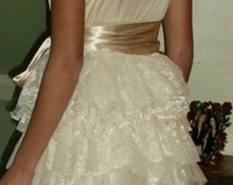 Ivory Bridal Gown Wedding, Alternative Wedding Dress,  Dress Upcycled Slip Dress for Prom Bride or Bridesmaid SAMPLE SALE