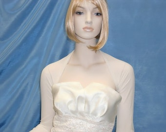 Bridal Bolero, Cover Up, Wedding Shrug of Sheer Stretchy Mesh