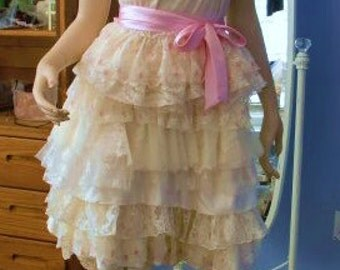 Pastel Wedding Dress Ivory Tiered Upcycled Vintage Slip Dress Bride Gown Shabby Chic