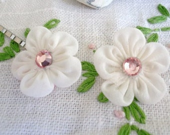 Flowergirl Hair Accessory, Ivory Organdy Daisy Hairpins with Genuine Pink Swarovski Crystal Rhinestones