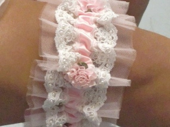 Heirloom Pink Satin and Lace WEDDING Bridal GARTER and FREE Toss Garter