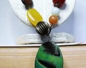 Autumnal Necklace--Green Agate Slice, Cherry Quartz, Goldstone, Copper, Fall Colors