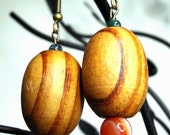 Grain Belt Earrings--Vintage Chunky Woodgrain Oval Beads, Striped Red Agate, Antiqued Brass