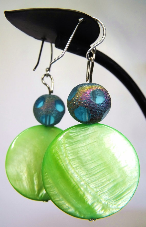 Printemps Earrings--Chartreuse Shell, Sterling Silver, Rainbow Faceted Aqua Glass, Springtime