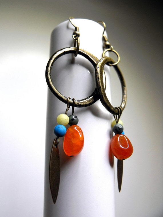 Brushfire Earrings--Southwest, Antiqued Brass, Burnt Orange Chalcedony, Howlite, New Jade, Malachite