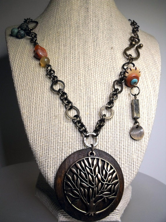 Arbor Vitae Necklace--Earthtone Gemstones, Wooden Disc Pendant, Antiqued Brass Tree