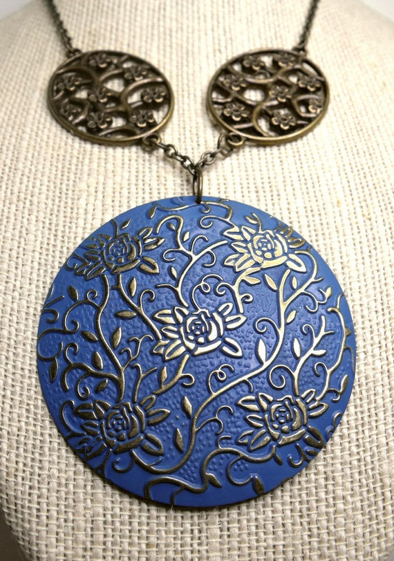 Flora Necklace--French Blue Stamped Pendant, Oval Connectors, Antiqued Brass