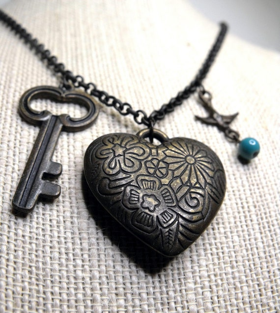 Reliquary Necklace--Floral-Stamped Heart, Tiny Key, Bird Charm, Turquoise Ceramic Bead