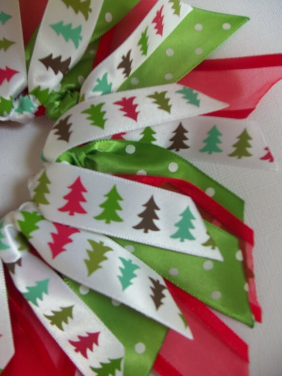 SALE Winter/Christmas Tree Red And Green Polka Dot Ribbon Spray Ponytail Holder Hairbow by Petite Personalities on Etsy.com